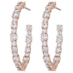 AS29 18 Karat Pink Gold Round Diamond Small Hoop Earrings
