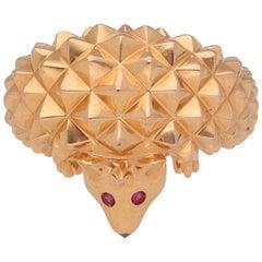 18 Karat Pink Gold Rubies Black Sapphire Hans Hedgehog Ring