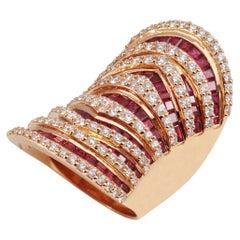18 Karat Pink Gold Ruby 6.70 Carat with Diamond 3.07 Carat Ring