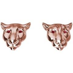 18 Karat Pink Gold Ruby Eyes Colorado Cougar Stud Earrings
