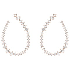 18 Karat Pink Gold Swing Diamond Small Hoop Earrings