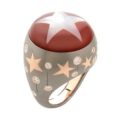 18 Karat Pink Gold, Titan, Diamonds, Mother of Pearl Ad Astra Carnelian Ring