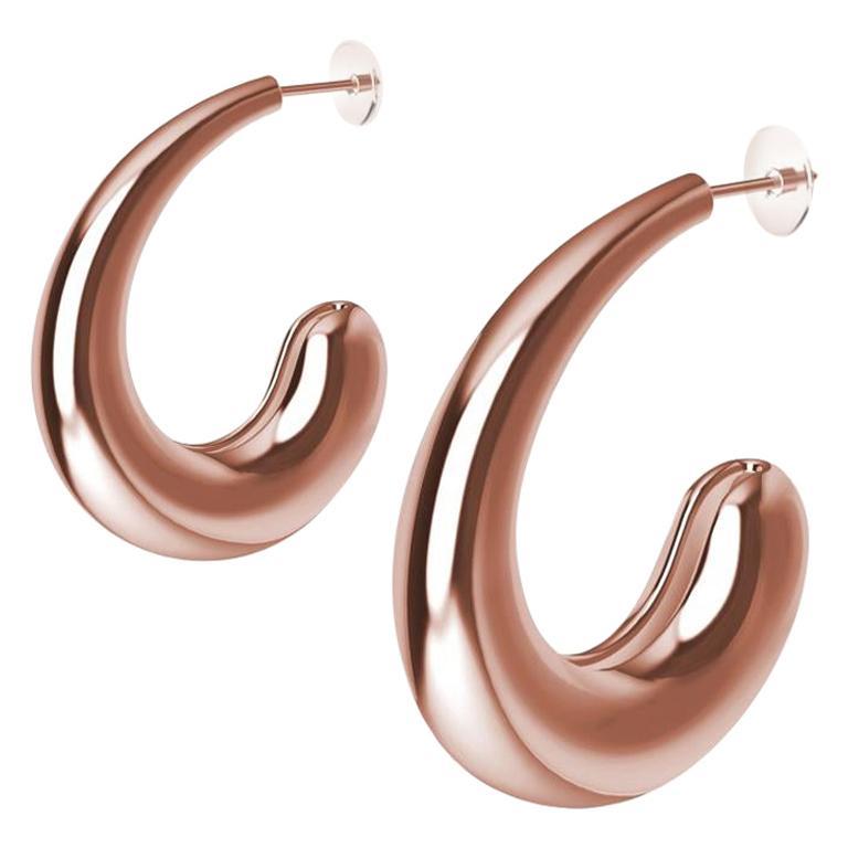 18 Karat Pink Gold Vermeil C-Hoop Teardrop Earrings