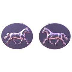18 Karat Pink Gold Vermeil Dressage Horse Cuff Links