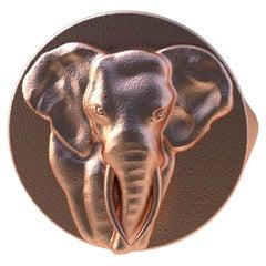 18 Karat Pink Gold Vermeil Elephant Tusks Signet Ring