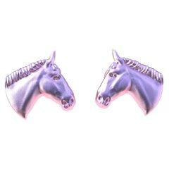 18 Karat Pink Gold Vermeil GIA Diamond Horse Cufflinks