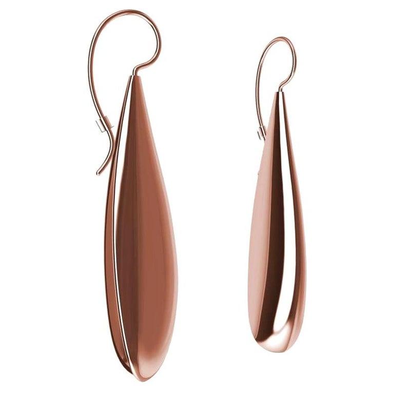 18 Karat Pink Gold Vermeil Long Teardrop Drop Earrings For Sale