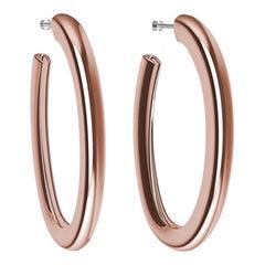 18 Karat Pink Gold Vermeil Oval Teardrop Hoop Earrings