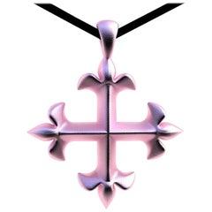 18 Karat Pink Gold Vermeil St. Mary's Fleur-de-lis Pendant Necklace