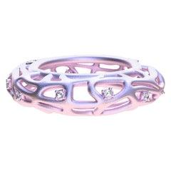 18 Karat Pink Gold Vermeil Women's GIA Diamond Seaweed Ring