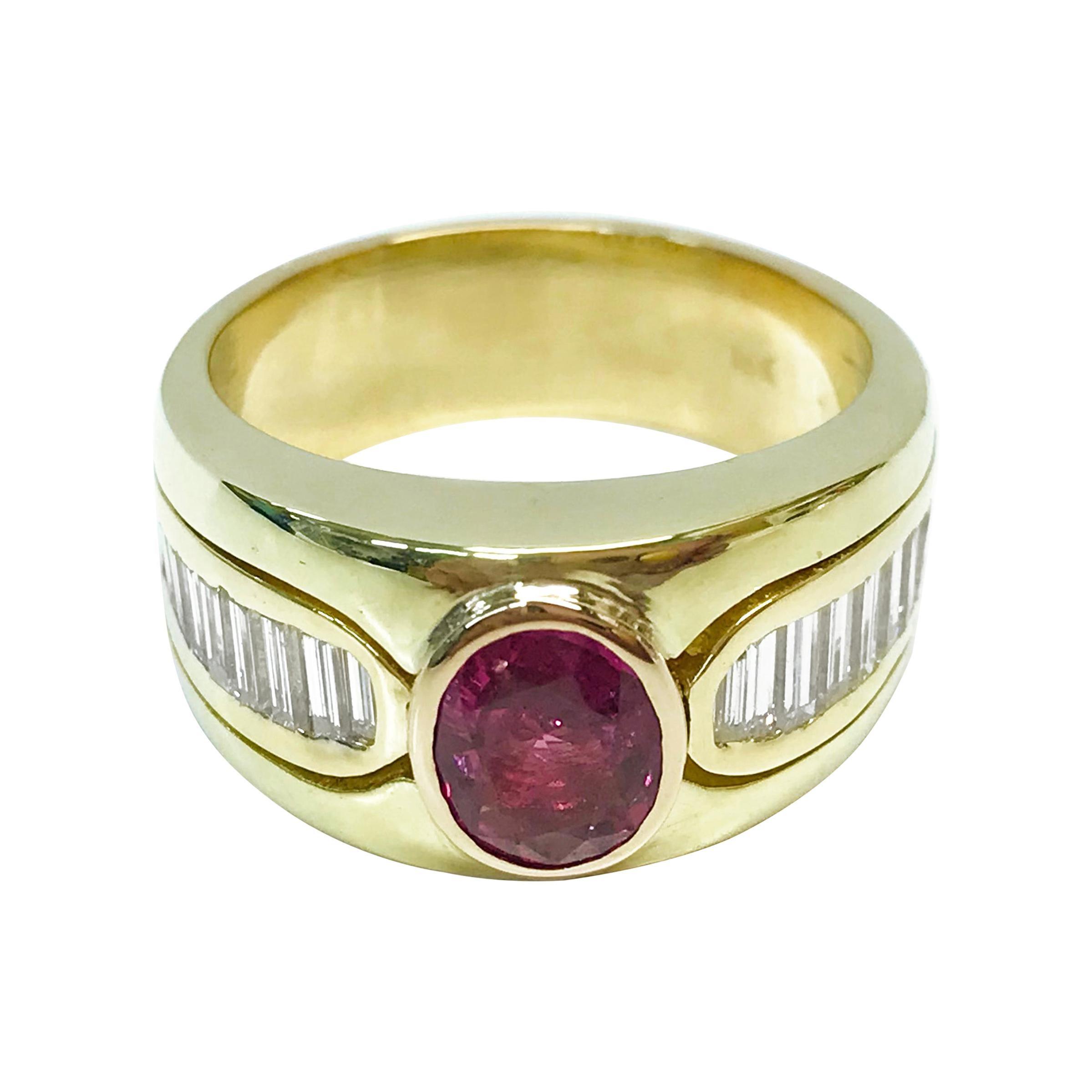 18 Karat Pink Sapphire Diamond Ring