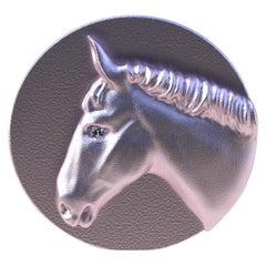 18 Karat Pink Vermeil GIA Diamond Horse Signet Ring