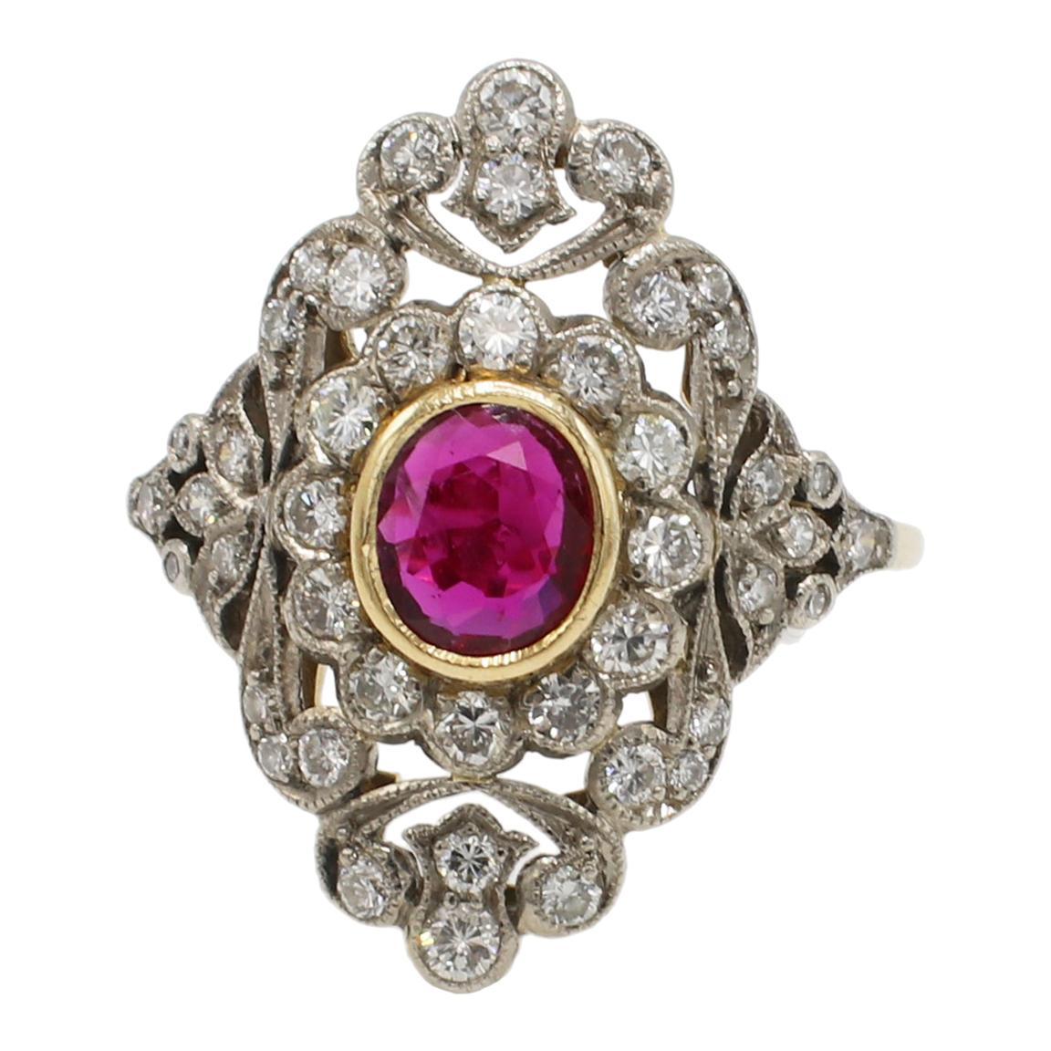 18 Karat & Platinum Ruby and Diamond Filigree Cocktail Ring