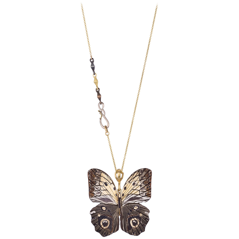 18 Karat Platinum Shakudo Large Owl Butterfly Hinge Necklace
