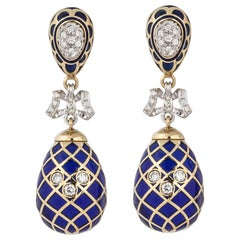 18 Karat Plique a Jour Enamel Drop Earrings