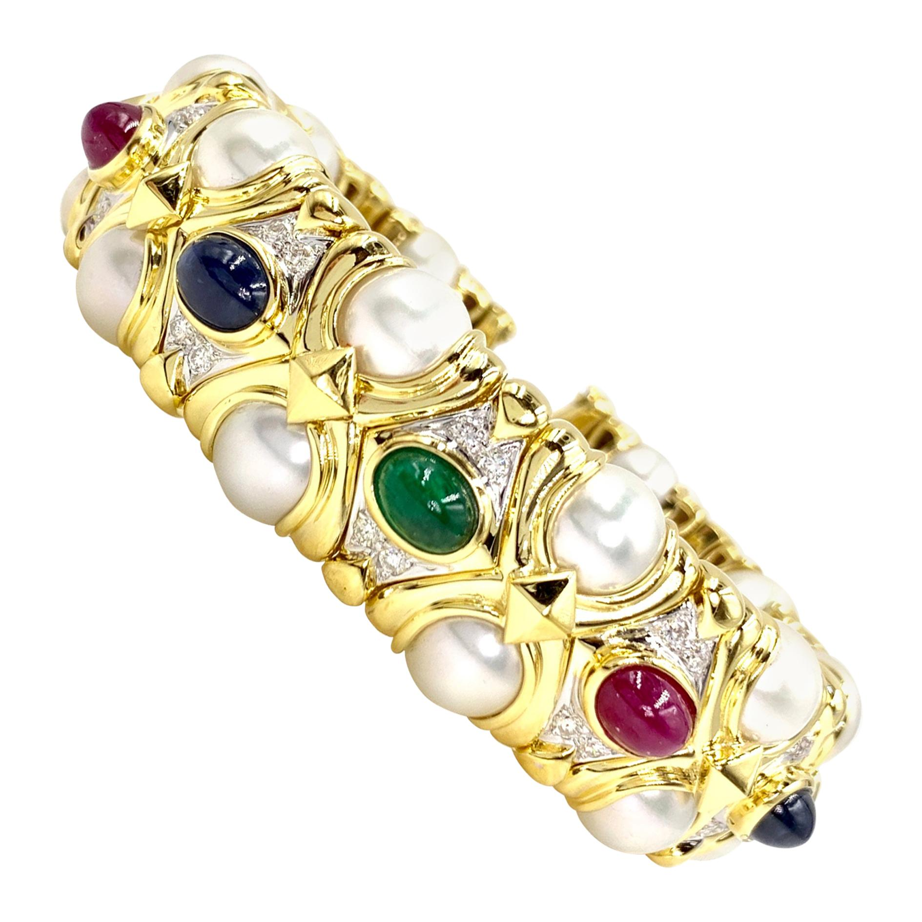 18 Karat Precious Gemstone, Diamond and Cultured Pearl Cuff Bracelet