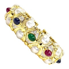 18 Karat Precious Gemstone, Diamond and Cultured Pearl Cuff Bracelet