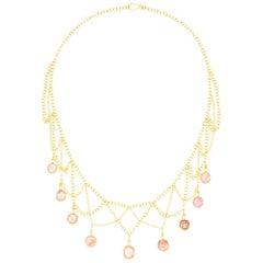 18 Karat PSTM Pink Tourmaline Raindrop Necklace