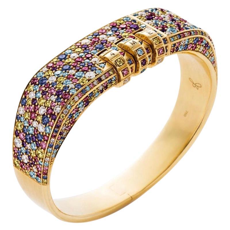 18 Karat Rainbow Confetti Pave Custom Code Bracelet