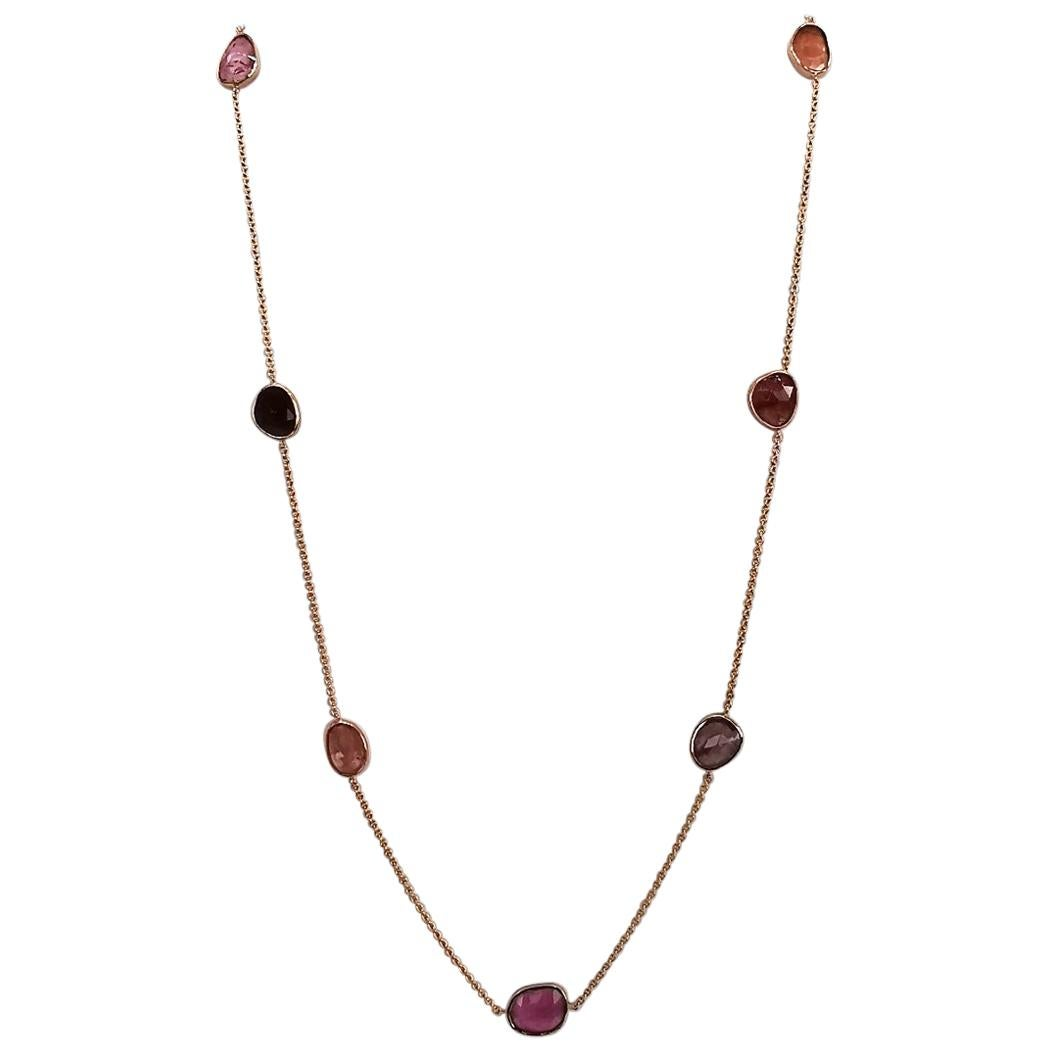 18 Karat Red Gold Chain Set with Rosecut Pink Tourmaline by Marion Jeantet