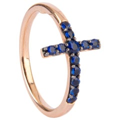 18 Karat Red Gold Cross Ring Feauture with Blu Sapphires