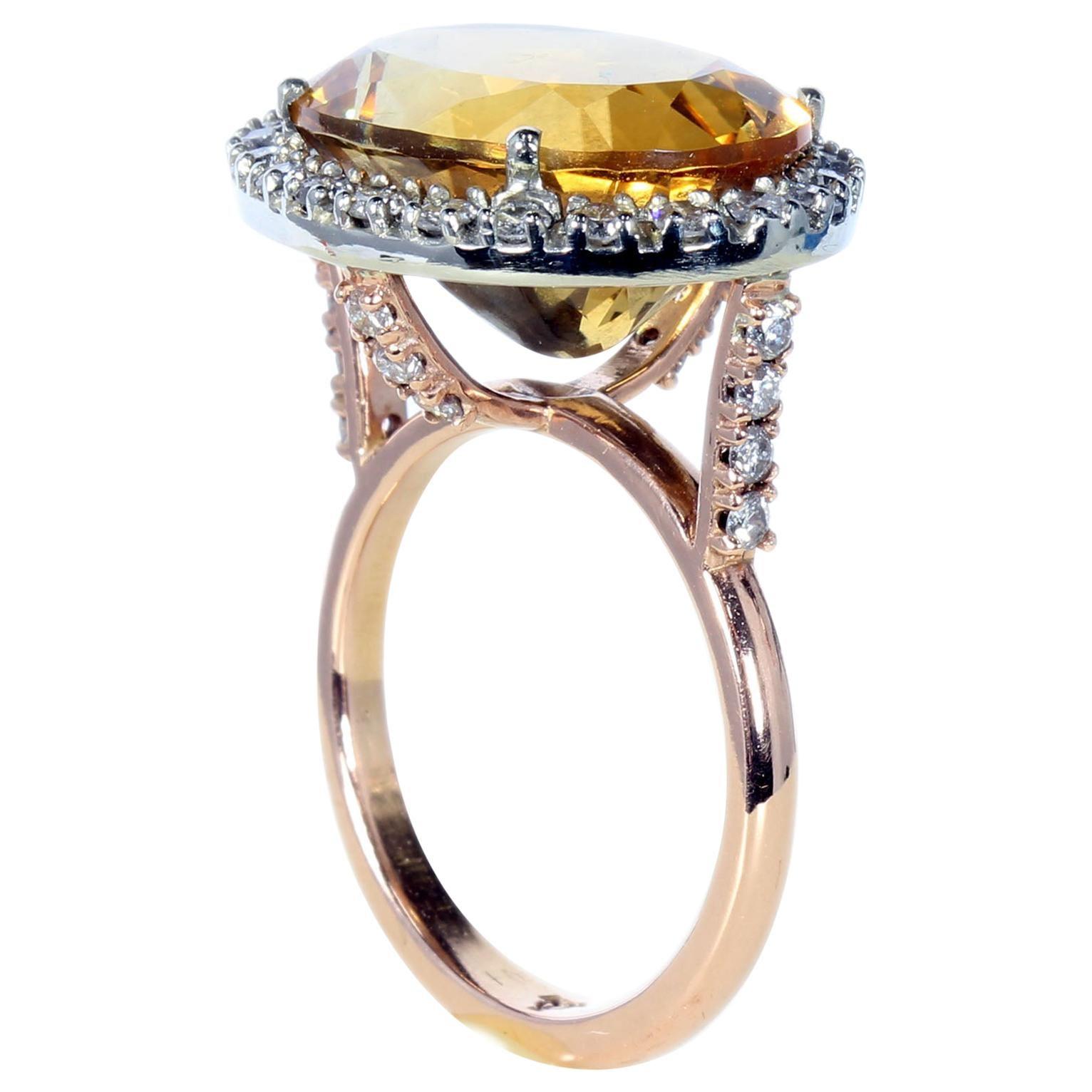 18 Karat Red Gold Imperial Topaz Diamonds Designer Cocktail Ring