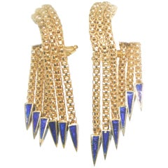 18 Karat Retro Dangling Earrings with Enamel, circa 1950