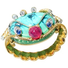 18 Karat Retro Turquoise Ruby Diamond and Sapphire Happy Clown Brooch circa 1955