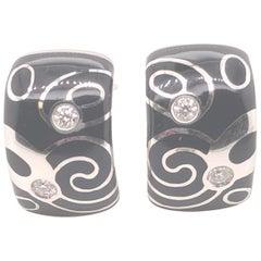 18 Karat Roberto Coin Black Enamel and Diamond Earrings