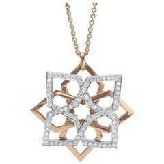 18 Karat Rose and White Gold 1.25 Carat Diamond Geometric Pendant