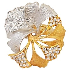 18 Karat Rose and White Gold Brushed Leaf Ring with .90 Carat Diamonds