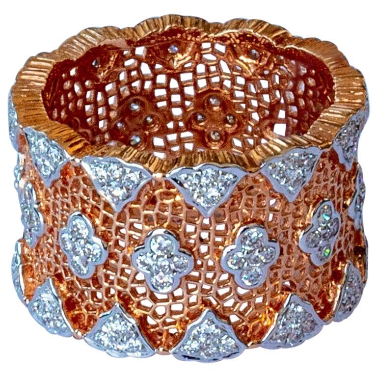 18 Karat Rose and White Gold Diamond Modern Bang Cocktail Fashion Ring For Sale
