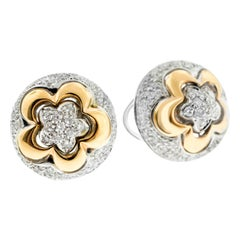 18 Karat Rose and White Gold Diamond Pave Flower Ear Clips