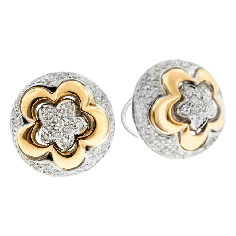 18 Karat Rose and White Gold Diamond Pave Flower Ear Clips For Sale