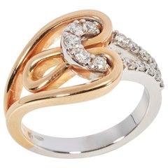 18 Karat Rose and White Gold Diamond Ring