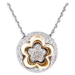 18 Karat Rose and White Gold Flower Pendant Necklace
