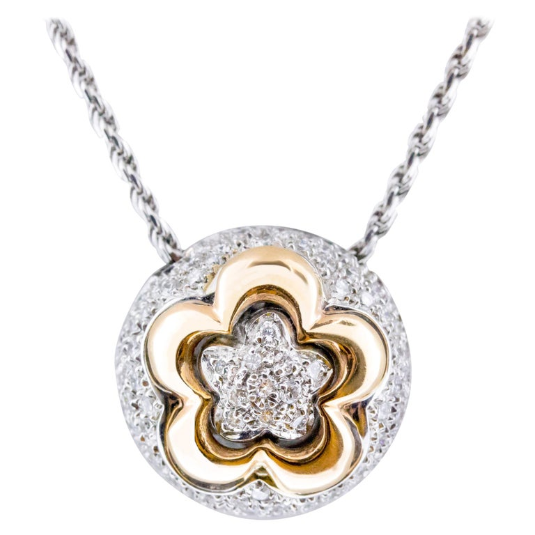 18 Karat Rose and White Gold Flower Pendant Necklace For Sale
