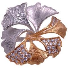 18 Karat Rose and White Gold Ginko Leaf Ring with .90 Carat Diamonds
