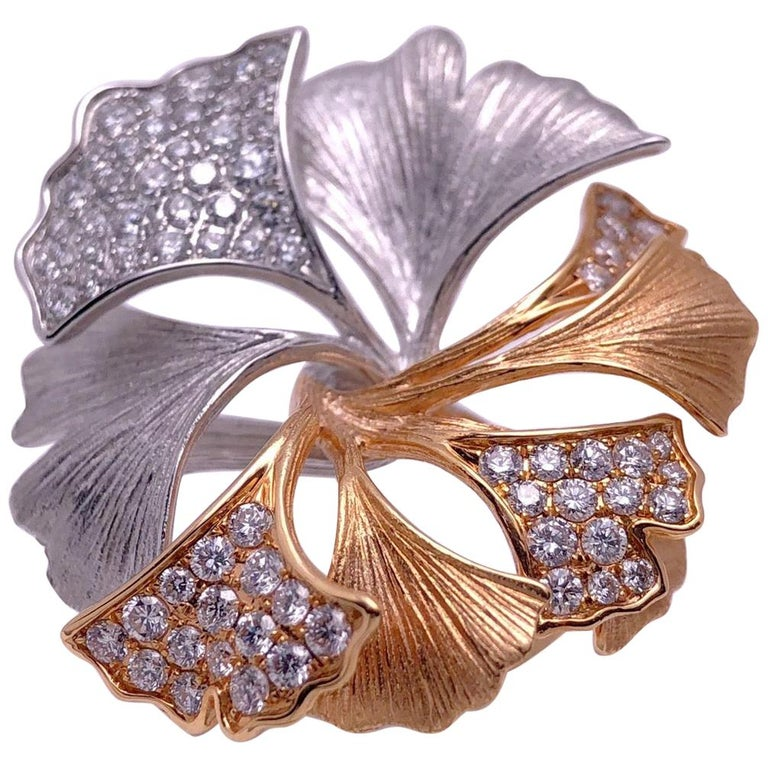 18 Karat Rose and White Gold Ginko Leaf Ring with .90 Carat Diamonds For Sale
