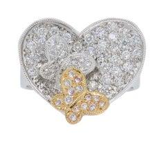 18 Karat Rose and White Gold Heart Butterfly Diamond Ring