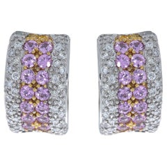 18 Karat Rose and White Gold Pink Sapphire and Diamond Huggie J-Hoop Earrings