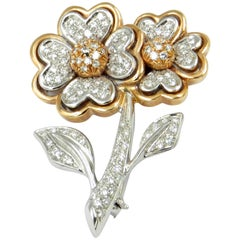 18 Karat Rose and White Gold Two Flowers Pavé Diamonds Brooch