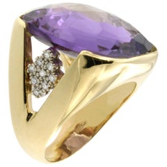 18 Karat Rose and White Gold with Amethyst and White Diamond Ring