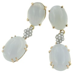 18 Karat Rose and White Gold with Chalcedony and White Diamond Earrings