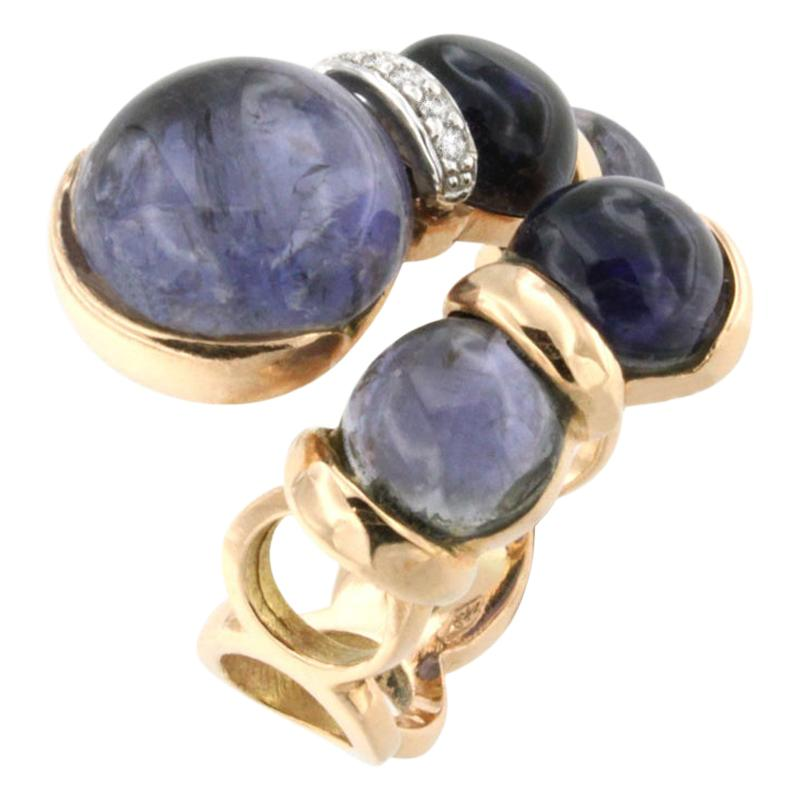 18 Karat Rose and White Gold with Iolite and White Diamond Ring