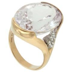 18 Karat Rose and White Gold with Kunzite and White Diamond Ring