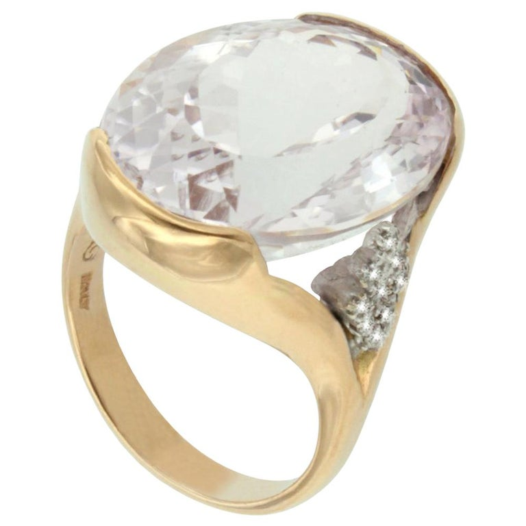 18 Karat Rose and White Gold with Kunzite and White Diamond Ring For Sale