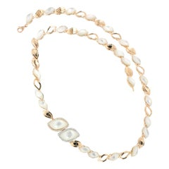18 Karat Rose and White Gold with Mother of Pearl and Diamonds Necklace