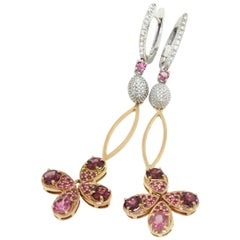 18 Karat Rose and White Gold With Pink Tourmaline and White Diamond Earrings