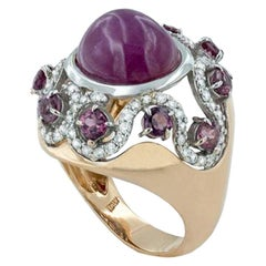 18 Karat Rose and White Gold with Pink Tourmaline and Diamonds Ring